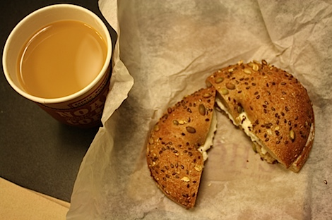 A bagel and coffee breakfast may not be all that interesting,